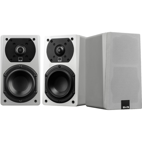 """SVS 2-Way Satellite Speaker with 1"""" Aluminum Dome Tweeter and 4.5"""" Woofer (White Gloss, 3 Pack)"""