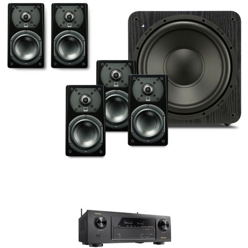SVS Prime Satellite 5.1-Channel Speaker Package with Denon AVR-X1400H Receiver Kit (Premium Black Ash)