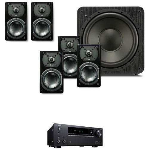SVS Prime Satellite 5.1-Channel Speaker Package with Onkyo TX-NR686 Receiver Kit (Premium Black Ash)