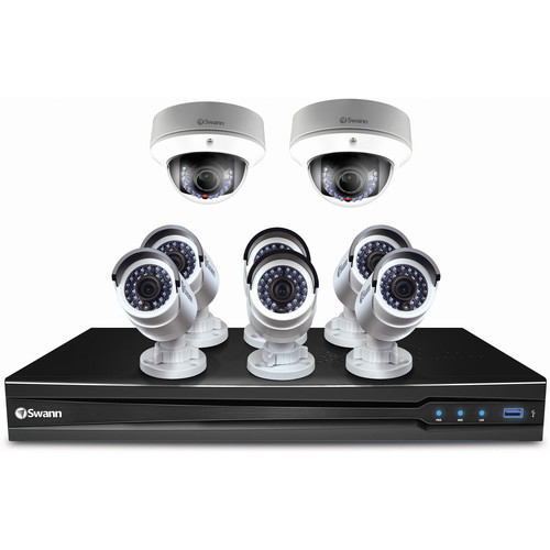 Swann 8-Channel 3MP NVR with 2TB HDD and 6 3MP Bullet Cameras and 2 3MP Dome Cameras