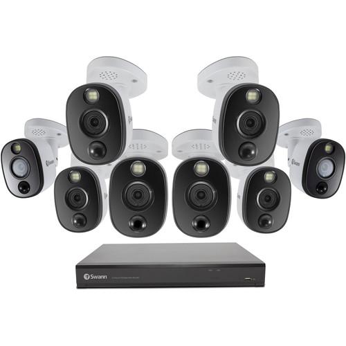 Swann 16-Channel 4K UHD DVR with 2TB HDD & 8 4K Spotlight Night Vision Bullet Cameras