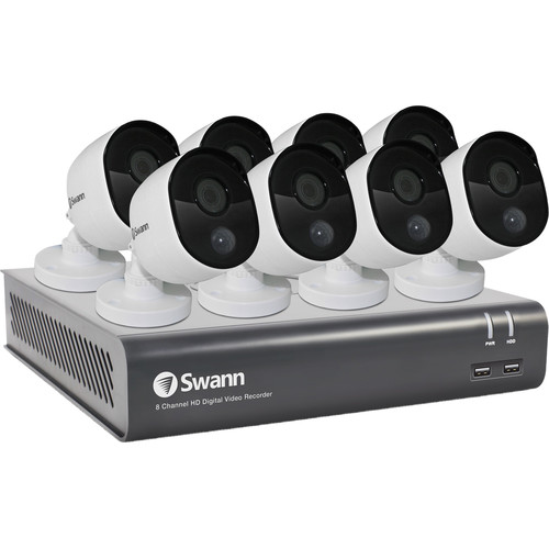 Swann 8-Channel 1080p DVR with 1TB HDD & 8 1080p Outdoor Night Vision Bullet Cameras
