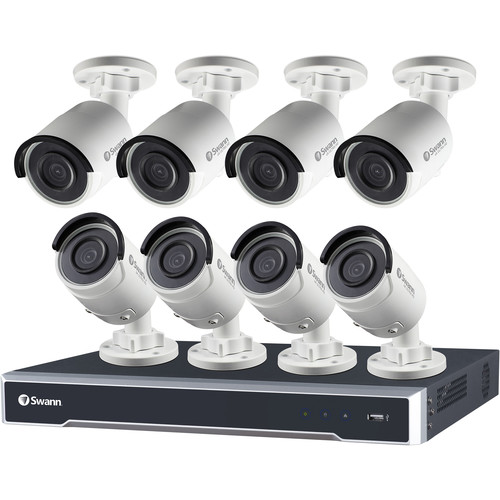 Swann 16-Channel 5MP NVR with 3TB HDD and 8 5MP Outdoor Night Vision Bullet Cameras