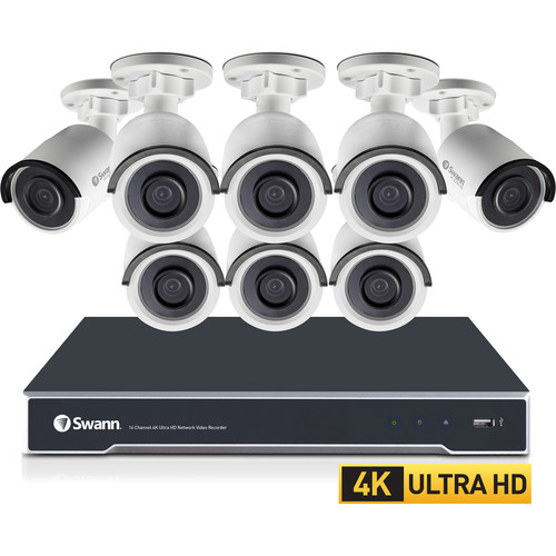 Swann 16-Channel 8MP NVR with 4TB HDD and 8 8MP Outdoor Night Vision Bullet Cameras Kit