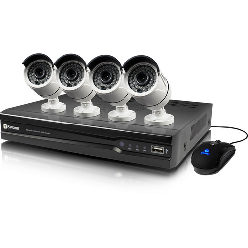 Swann 8-Channel 4MP NVR with 2TB HDD and 4 4MP Outdoor Night Vision Bullet Cameras