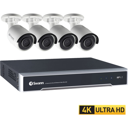 Swann 8-Channel 8MP NVR with 4TB HDD and 4 8MP Outdoor Night Vision Bullet Cameras Kit