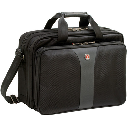 """Wenger LEGACY 16"""" Double Gusset Computer Case (Black/Gray)"""