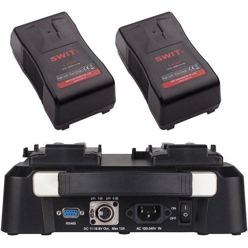 SWIT Dual 240Wh, 15A V-Mount Batteries & 2-Channel Fast Charger Kit