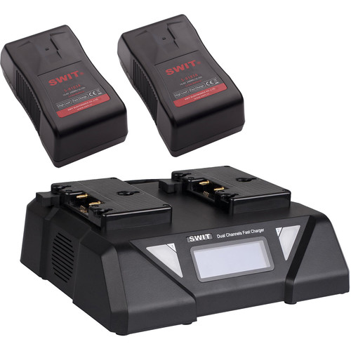 SWIT Dual 240Wh, 15A Gold Mount Batteries & 2-Channel Fast Charger Kit