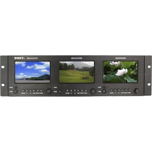 "SWIT M-1051H Triple 5"" 3G-SDI & HDMI LCD Monitors (3 RU)"