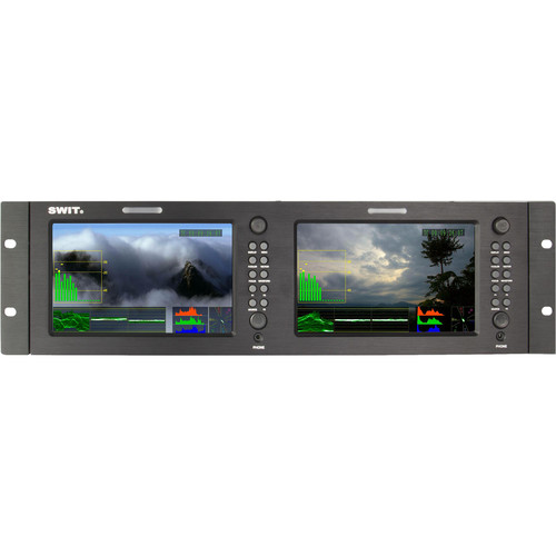 "SWIT M-1071F Dual 7"" HDSDI and HDMI Waveform LCD Monitor (3 RU)"