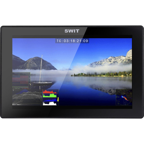 """SWIT S-1073F 7"""" Full HD Waveform LCD Monitor with S-7006A Gold Mount Battery Plate"""