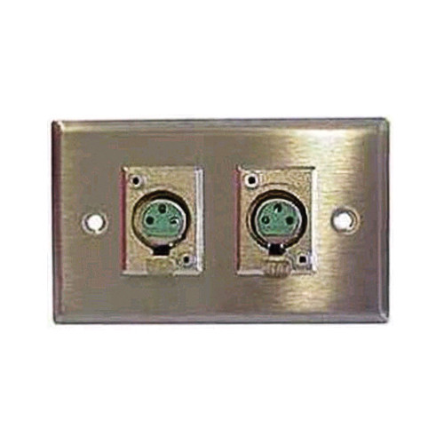 Switchcraft K3FS 1-Gang XLR Wall Plate with 2 Preloaded Rectangular 3-Pin XLR Female Connectors