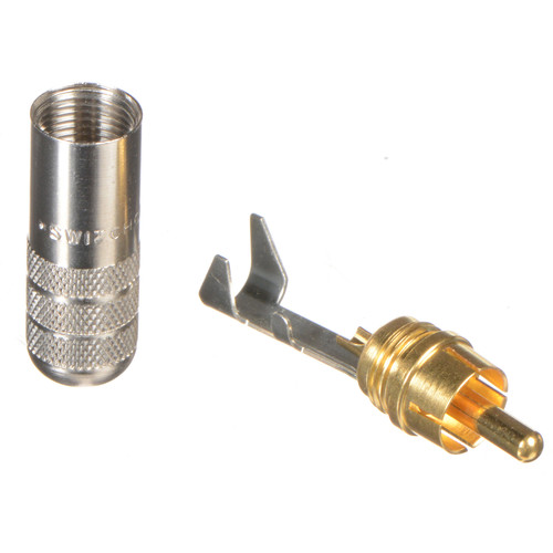Switchcraft 2-Conductor Shielded RCA Straight Plug (Nickel Handle and Gold Plug)