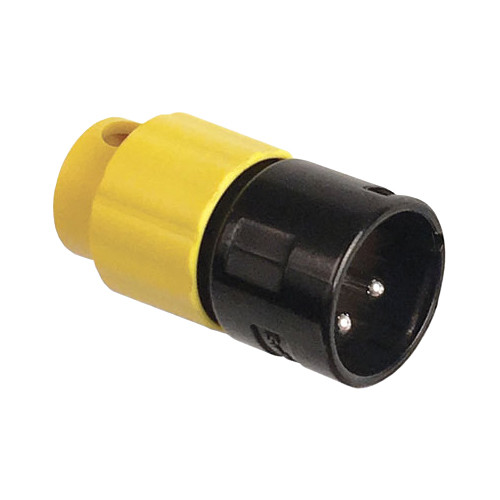Switchcraft AAA Series Low Profile, 3-Pin Right-Angle XLR Male Connector (Black with Yellow Back)