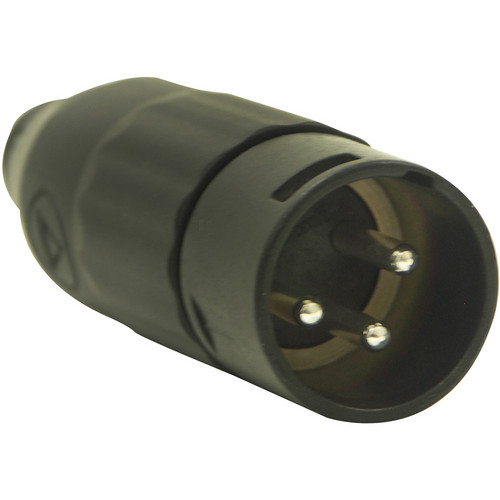 Switchcraft AAA Series 3-Pin XLR Male Cable-Mount Connector (Black Metal Shell, Silver Contacts)
