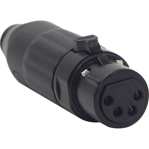 Switchcraft AAA Series 4-Pin XLR Female Cable-Mount Connector (Black Metal Shell, Gold Contacts)