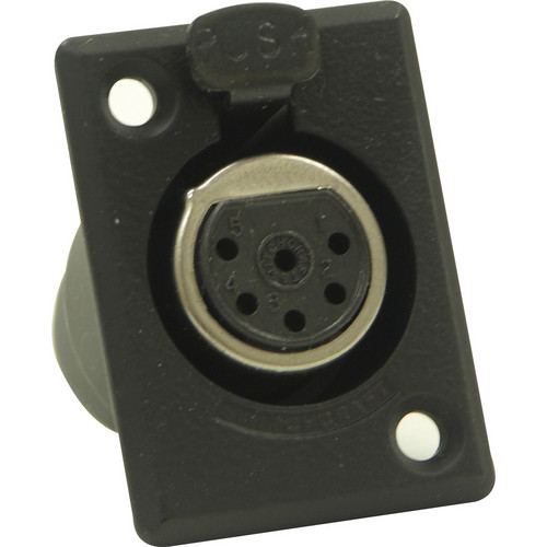 Switchcraft D Series 6-Pin XLR Female (Black Finish, Gold Pins)