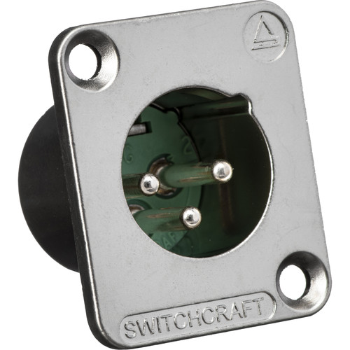 Switchcraft DE Series 3-Pin XLR Male Panel Mount Connector (Nickel Finish, Silver Contacts)