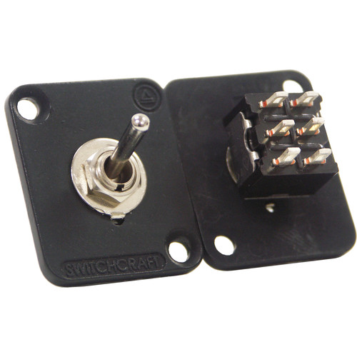 Switchcraft EH Series Toggle Switch Locking DPDT Connector with Black Flange