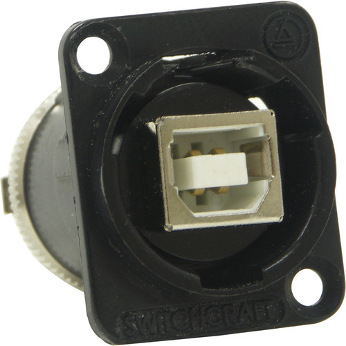 Switchcraft EH Series USB Type-B to USB Type-A Feed-Through Connector (Black Chrome Finish)
