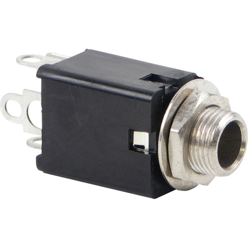 """Switchcraft L114BX Hi-D Jax 3-Conductor Enclosed Phone Jack with 0.375"""" Long Bushing (Double Closed Circuit, Solder Lug Termination, Black)"""