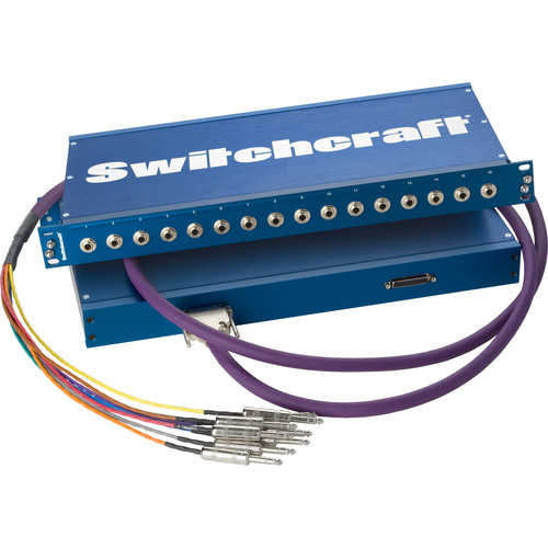 """Switchcraft PT Series Audio Passthrough Panel (Sixteen 1/4"""" TRS Jacks to Two DB25 Back-Panel Connectors, 1RU)"""