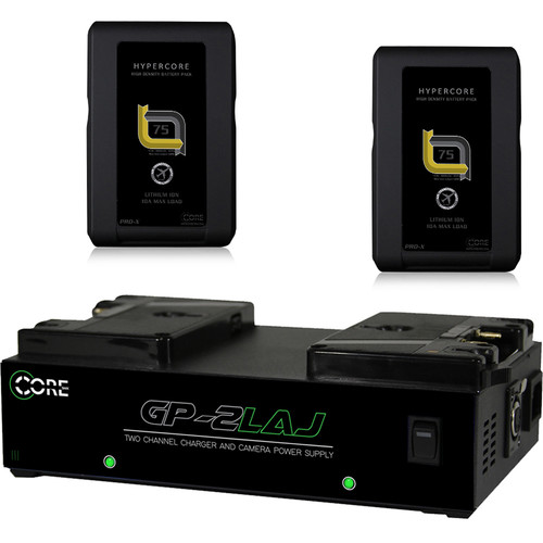 Core SWX 2-HC-7AG Hypercore Battery Kit with GP-2LAJ Gold Mount Two Position Charger
