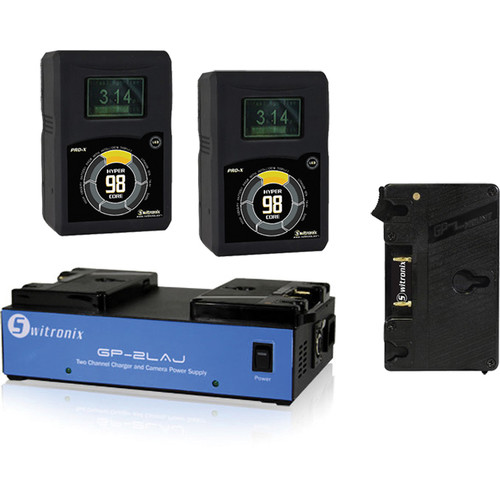 Core SWX Gold Mount Kit for AJA CION: Gold Mount Plate, Two 98Wh HyperCores, Two-Position Charger