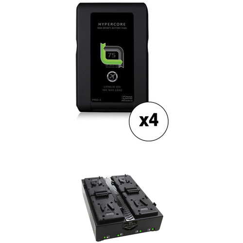 Core SWX 4-HC-7S Hypercore Battery Kit with Fleet Q V-Mount Four Position Charger