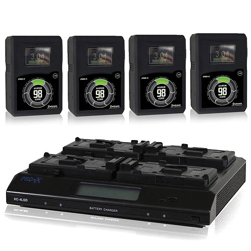 Core SWX 4x HyperCore 98Wh 14.8V V-Mount Battery with XC 4-Position Charger Kit