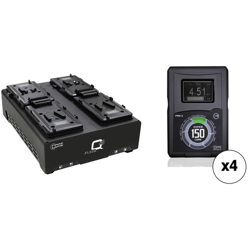 Core SWX Four-Battery HyperCore 150Wh V-Mount Kit with Fleet Q Quad Charger