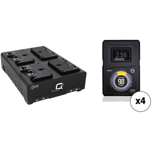 Core SWX Four-Battery HyperCore GOLD 98Wh Gold Mount Kit with Fleet Q Quad Charger