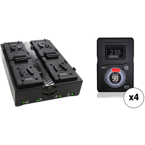 Core SWX Four-Battery HyperCore RED 98Wh V-Mount Kit with Fleet Q Quad Charger