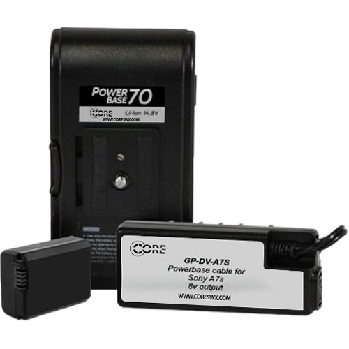 """Core SWX PowerBase 70 Battery for Sony a7S (24"""" Cable)"""