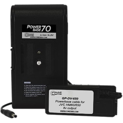 "Core SWX PowerBase 70 Battery for JVC HM-600 & HM-650 (24"" Cable)"
