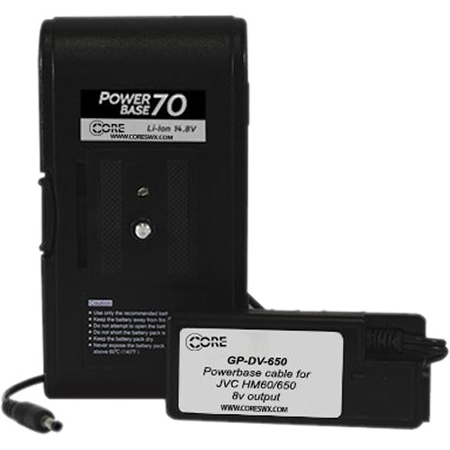 "Core SWX PowerBase 70 Battery for JVC HM-600 & HM-650 (12"" Cable)"