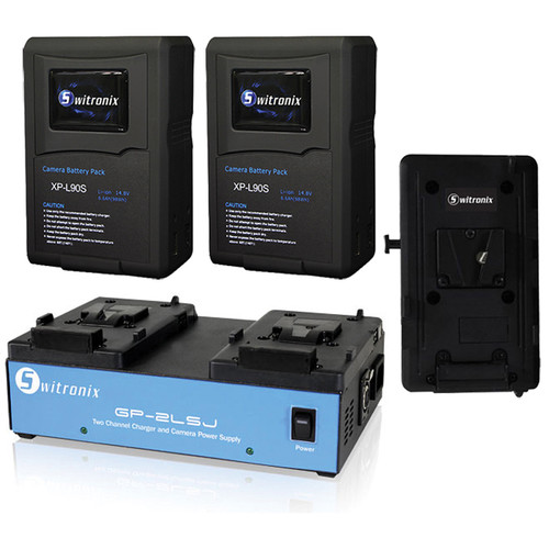 Core SWX V-Mount Kit for AJA CION: V-Mount Plate, Two 98Wh XP-L90S Batteries, Two-Position Charger