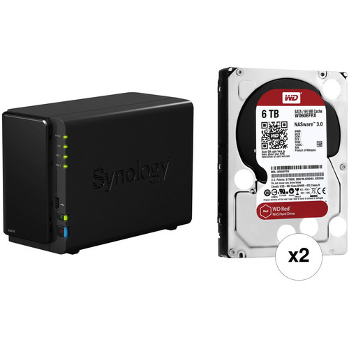 Synology 12TB (2 x 6TB) DiskStation DS216 2-Bay NAS Server Kit with WD Drives