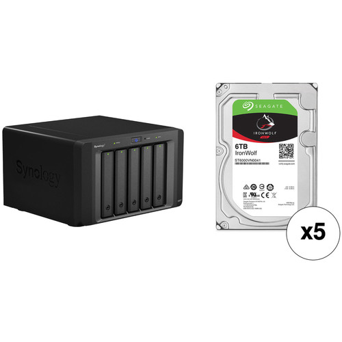 Synology 30TB DX517 5-Bay Expansion Enclosure Kit with Seagate NAS Drives (5 x 6TB)