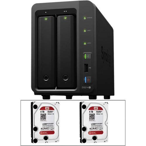 Synology 8TB (2 x 4TB) DS214+ 2-Bay DiskStation NAS Server Kit with Drives