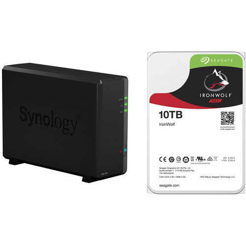 Synology DiskStation 10TB DS118 1-Bay NAS Enclosure Kit with Seagate NAS Drives (1 x 10TB)