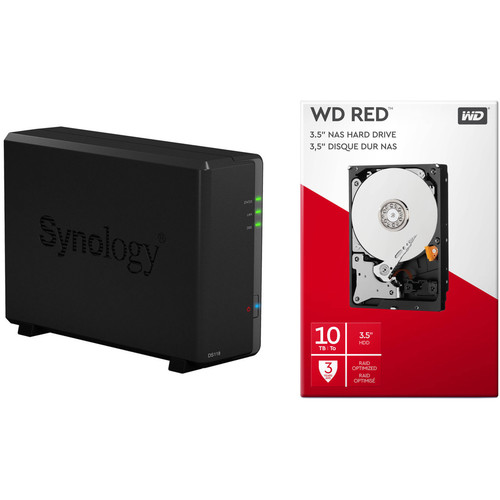 Synology DiskStation 10TB DS118 1-Bay NAS Enclosure Kit with WD NAS Drives (1 x 10TB)