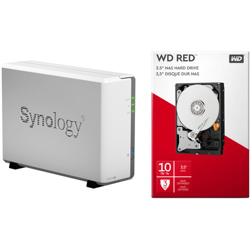 Synology DiskStation 10TB DS119j 1-Bay NAS Enclosure Kit with WD NAS Drive (1 x 10TB)
