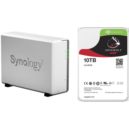 Synology DiskStation 10TB DS119j 1-Bay NAS Enclosure Kit with Seagate NAS Drive (1 x 10TB)