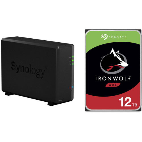 Synology DiskStation 12TB DS118 1-Bay NAS Enclosure Kit with Seagate NAS Drives (1 x 12TB)