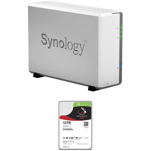 Synology DiskStation 12TB DS119j 1-Bay NAS Enclosure Kit with Seagate NAS Drive (1 x 12TB)