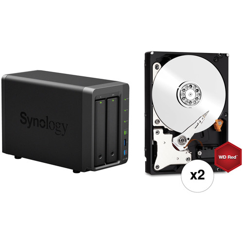 Synology DiskStation 12TB DS718+ 2-Bay NAS Enclosure Kit with WD NAS Drives (2 x 6TB)