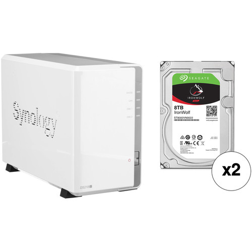 Synology DiskStation 16TB DS218j 2-Bay NAS Enclosure Kit with Seagate NAS Drives (2 x 8TB)