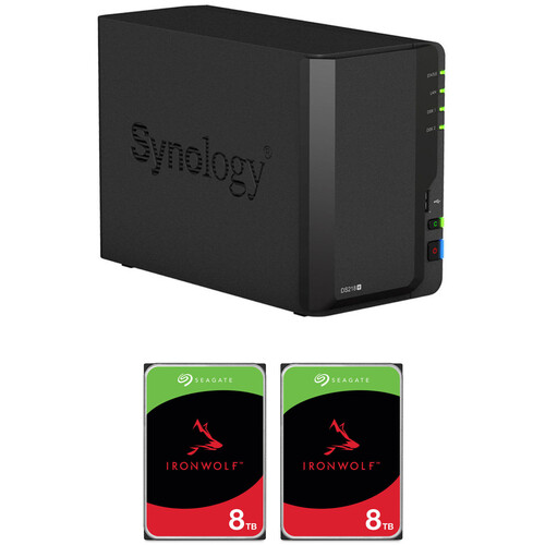 Synology DiskStation 16TB DS218+ 2-Bay NAS Enclosure Kit with Seagate NAS Drives (2 x 8TB)